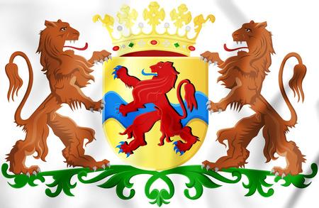 Overijssel Coat of Arms, Netherlands. 3D Illustration. Stock Photo
