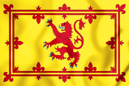 3D Royal Standard of Scotland. 3D Illustration.