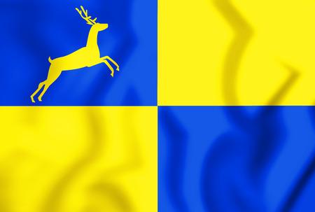 3D Flag of Putten (Gelderland), Netherlands. 3D Illustration.