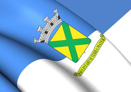 3D Flag of Santo Andre (Sao Paulo state), Brazil. 3D Illustration. Banco de Imagens