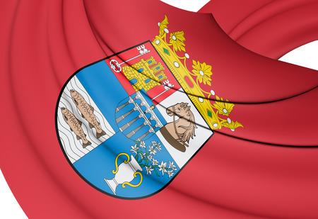 leon caricatura: 3D Flag of Segovia Province, Spain. 3D Illustration. Foto de archivo