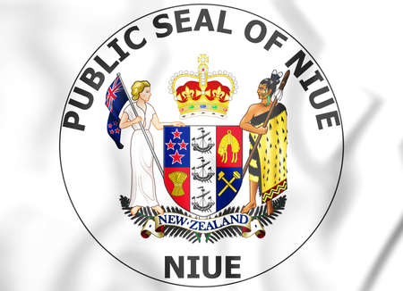 white coat: Niue Coat of Arms. 3D Illustration.