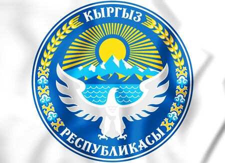 white coat: 3D Emblem of the Kyrgyzstan. 3D Illustration.