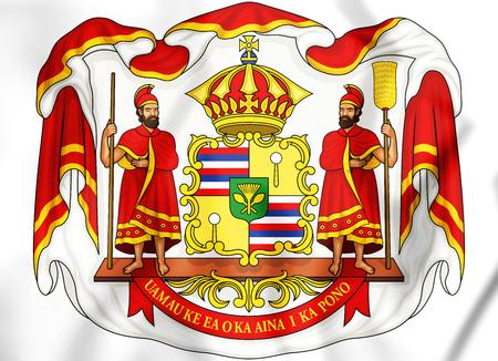 Royal Coat of Arms of Hawaii. 3D Illustration. Фото со стока