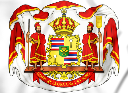 Royal Coat of Arms of Hawaii. 3D Illustration. Stock Photo