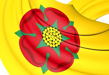 3D Flag of Lancashire County, England. 3D Illustration. Stock Photo
