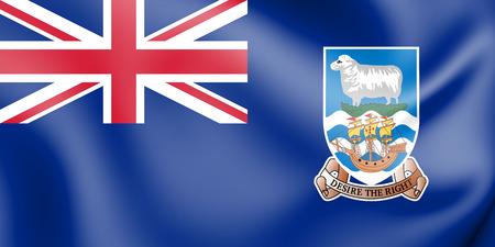 3D Flag of Falkland Islands. 3D Illustration.