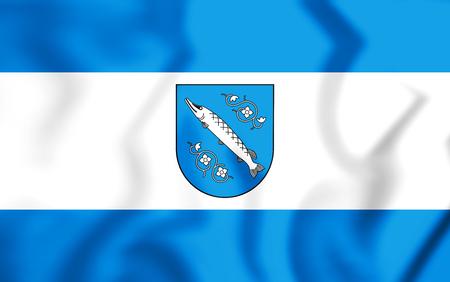 bandera de polonia: 3D Flag of Rybnik (Silesian Voivodeship), Poland. 3D Illustration. Foto de archivo