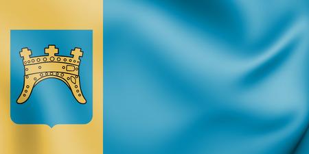 3D Flag of Split-Dalmatia County, Croatia. 3D Illustration. Stock Photo