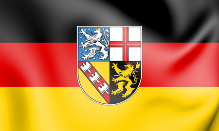 3D Flag of Saarland, Germany. 3D Illustration. Stock Photo