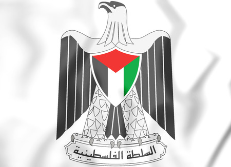 white coat: Palestinian National Authority coat of arms. 3D Illustration. Stock Photo