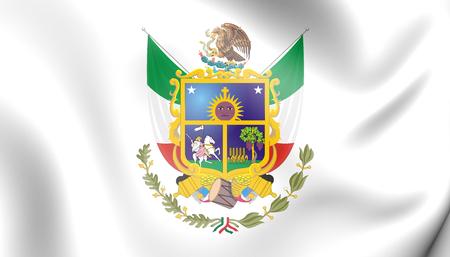 3D Flag of Queretaro, Mexico. 3D Illustration.