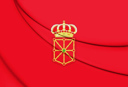 navarra: 3D Flag of Navarra, Spain. 3D Illustration.