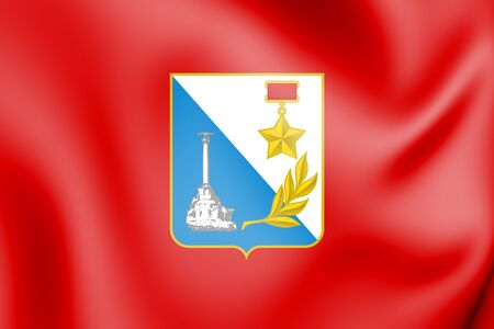 3D Flag of Sevastopol (Crimea), Russia. 3D Illustration.