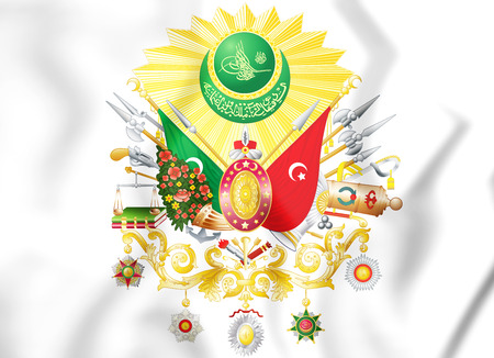 Ottoman Empire coat of arms (1299-1923). 3D Illustration.