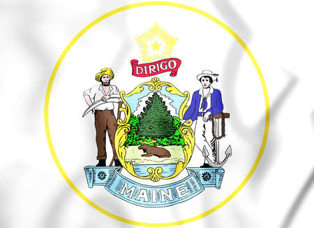 white coat: State Seal of the Maine state, USA. 3D Illustration. Stock Photo