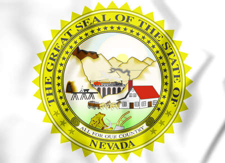 3D State Seal of Nevada, USA. 3D Illustration.