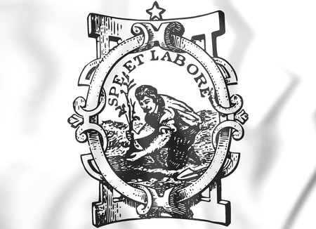 white coat: Paterson Coat of Arms (New Jersey), USA. 3D Illustration.