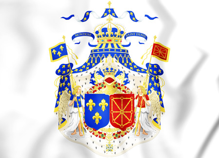 europe closeup: Coat of Arms of France and Navarre. 3D Illustration. Stock Photo