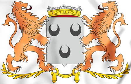3D Oosterhout coat of arms (North Brabant), Netherlands. 3D Illustration. Stock Photo