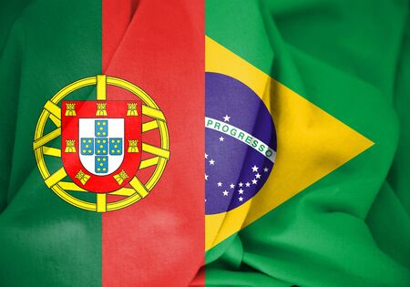 3D Flag of Brazil and Portugal. 3D Illustration. Stock Photo