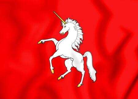 Lysva (페름 크라이), 러시아의 국기. 3D 일러스트 레이 션. 스톡 콘텐츠
