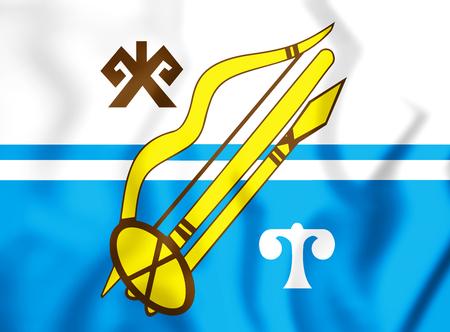 3D Flag of Gorno-Altaysk (Altai Republic), Russia. 3D Illustration.