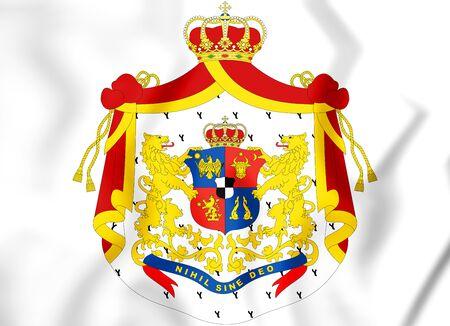 rumanian: Principality of Romania (1872-1881) coat of arms. 3D Illustration.