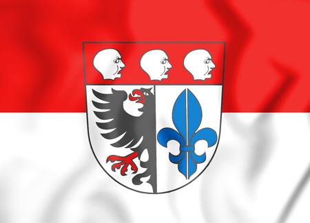 3D Flag of Wangen im Allgau (Baden-Wurttemberg), Germany. 3D Illustration.