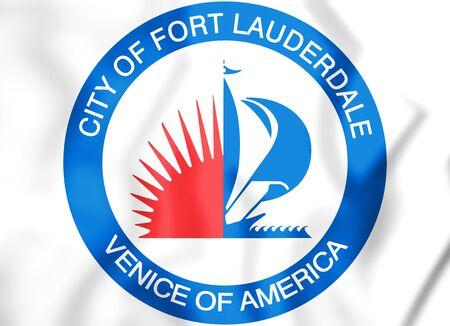 3D Seal of Fort Lauderdale (Florida), USA. 3D Illustration.