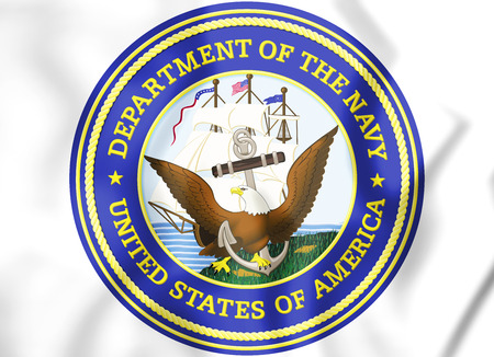 アメリカ合衆国海軍省の 3 D シールです。3 D イラスト。