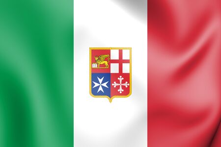 white coat: 3D Civil Ensign of Italy. 3D Illustration.