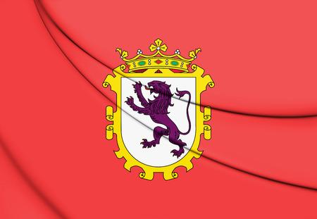 leon caricatura: 3D Flag of Leon City, Spain. 3D Illustration.