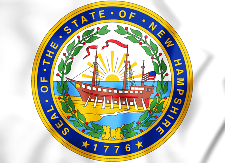 3D State Seal of New Hampshire, USA. 3D Illustration. Stock Photo