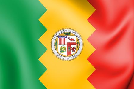 3D Flag of Los Angeles, USA. 3D Illustration.