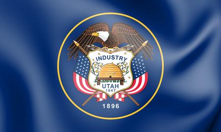 ユタ州、アメリカ合衆国の 3 D の旗。3 D イラスト。 写真素材