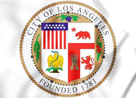 3D Seal of Los Angeles (California), USA. 3D Illustration.