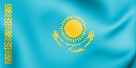 3D Flag of the Kazakhstan. 3D Illustration.