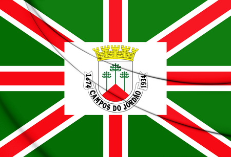 3D Flag of Campos do Jordao (Sao Paulo State), Brazil. 3D Illustration.