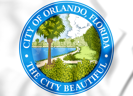 white coat: 3D Seal of Orlando (Florida), USA. 3D Illustration. Stock Photo