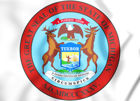 3D State Seal of Michigan, USA. 3D Illustration. Фото со стока