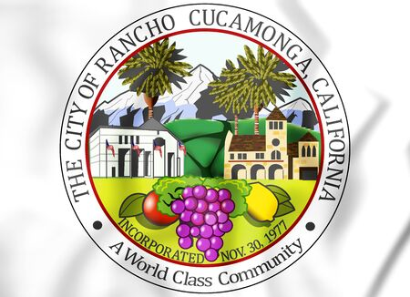 3D Seal of Rancho Cucamonga, USA. 3D Illustration.
