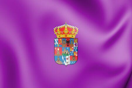 la: 3D Flag of Guadalajara Province, Spain. 3D Illustration.