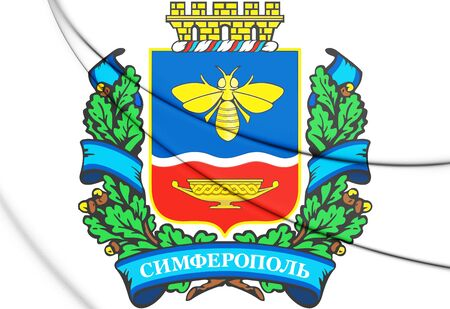3D Simferopol Coat of Arms, Crimea. 3D Illustration.