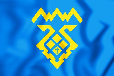 3D Flag of Tolyatti (Samara Oblast), Russia. 3D Illustration.