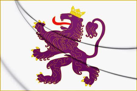 leon caricatura: 3D Flag of the Kingdom of Leon. 3D Illustration.