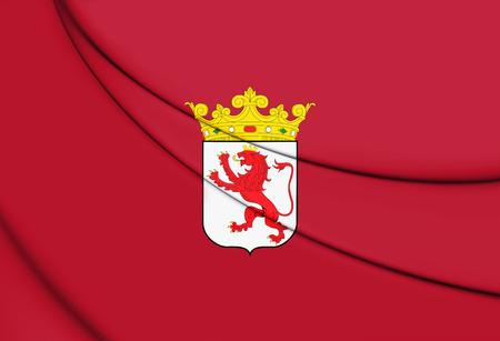 leon caricatura: 3D Flag of Leon Province, Spain. 3D Illustration.