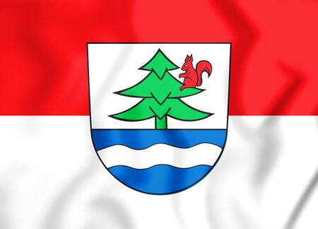 3D Flag of Titisee-Neustadt (Baden-Wurttemberg), Germany. 3D Illustration. Stock Photo