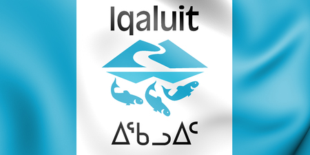 3D Flag of Iqaluit, Canada. 3D Illustration. Stock Photo