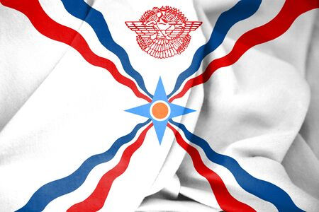 white coat: 3D Flag of the Assyria. 3D Illustration.